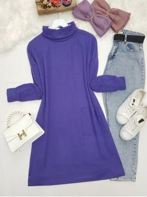 Turtleneck Bag Pocket Tunic   - Purple