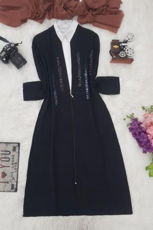 Fermuarlı Pullu Kap -Siyah