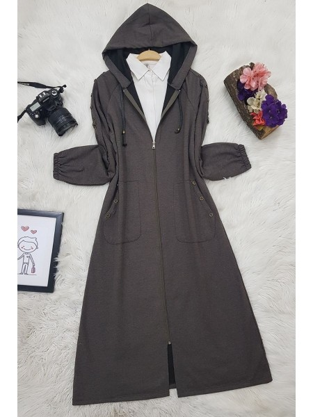 Button Detailed Hooded Cape - Soil