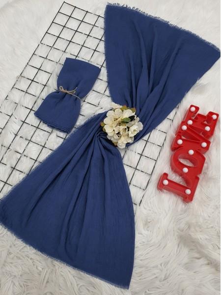 Cress Fabric Plain Scarf -İndigo