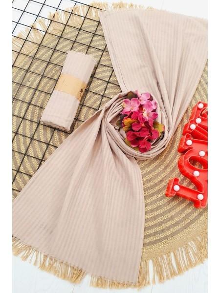 Striped Cotton Shawl - Beige
