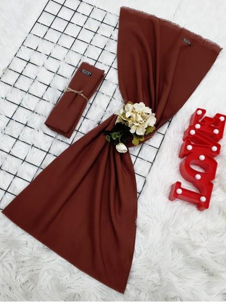 Plain Cotton Shawl -Brick color