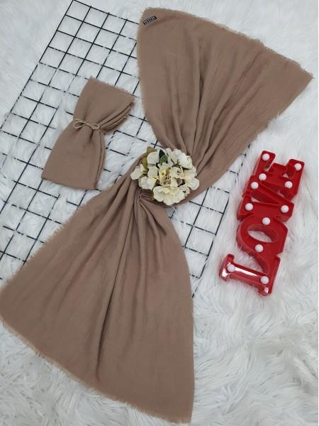 Cress Fabric Plain Scarf -Light Mink