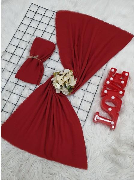 Cress Fabric Plain Scarf -Red