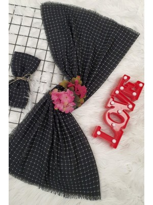 Small Checkered Pattern Scarf -Black