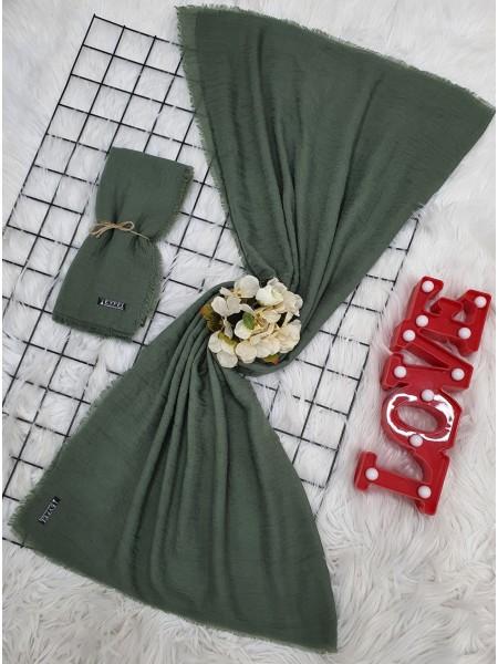 Cress Fabric Plain Scarf -Green