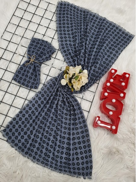 Icon Printed Thin Scarf -Ice Blue