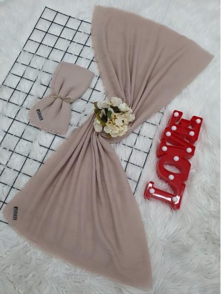 Cress Fabric Plain Scarf - Beige