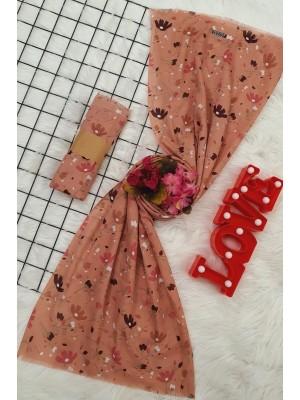 Floral Pattern Viscose Shawl -Dried rose