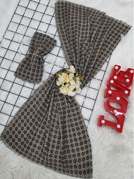 Icon Printed Thin Scarf -Brown