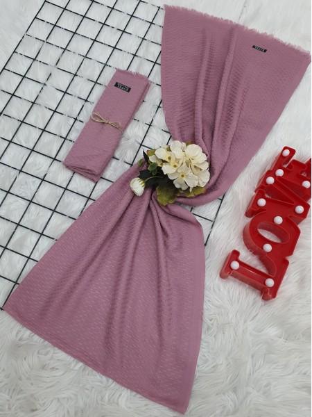 Oval Dobby Thin Shawl -Pink