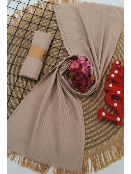 Striped Cotton Shawl -Mink color
