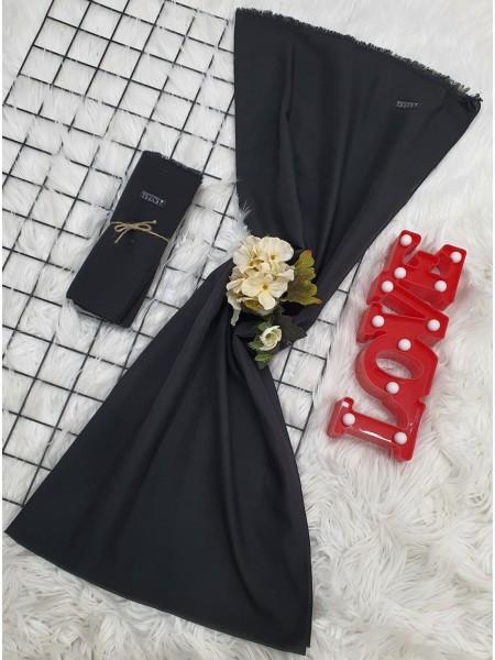 Thin Plain Cotton Shawl -Black