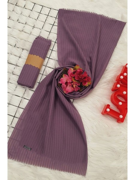 Striped Cotton Shawl - Purple