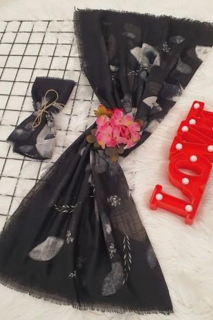 Yaprak Desenli Eşarp -Siyah