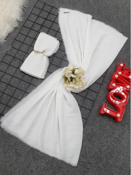 Cress Fabric Plain Scarf -White