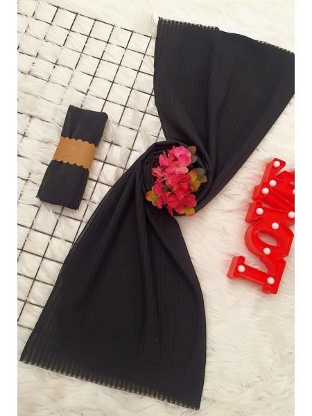 Striped Cotton Shawl -Black