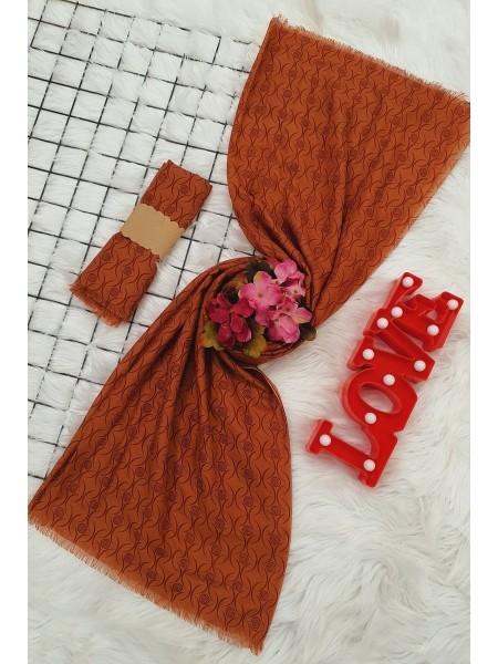 Thin Viscose Shawl -Brick color