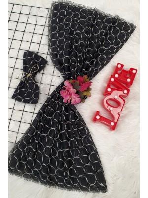 Thread Print Patterned Scarf -Black