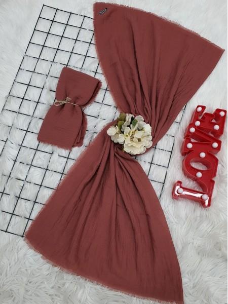 Cress Fabric Plain Scarf -Dried rose