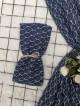 Leaf Printed Thin Scarf -Navy blue