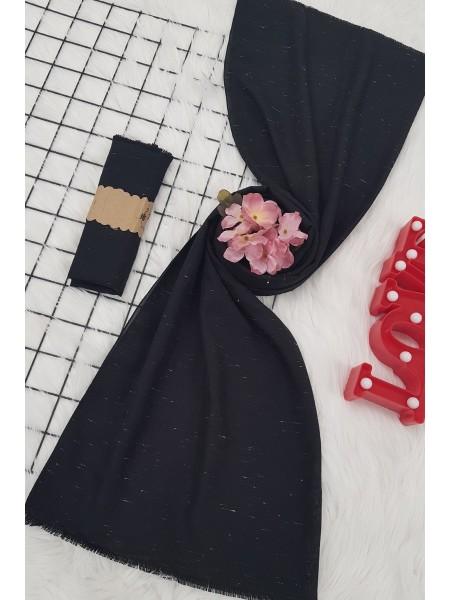 Tumbled Pattern Viscose Shawl -Black