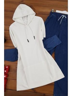 Sleeve Jeans Detailed Sweat Shirt -Ecru