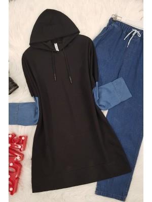 Sleeve Jeans Detailed Sweat Shirt -Black