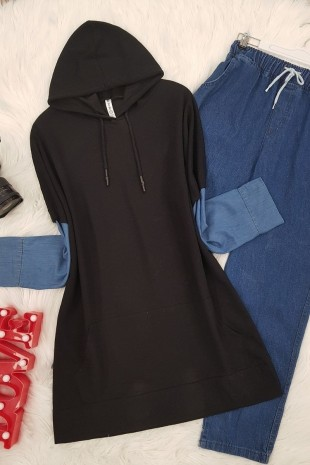 Kolu Kot Detaylı Sweat -Siyah