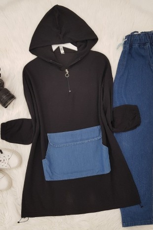 Kot Cep Detaylı Sweat -Siyah