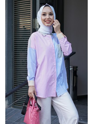 Multicolored Striped Striped Shirt with Pockets -Yellow