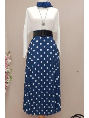 Polka Dot Skirt -İndigo