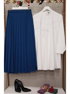 Pleated Mira Skirt  -İndigo