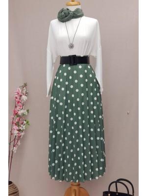 Polka Dot Skirt  -Mint Color
