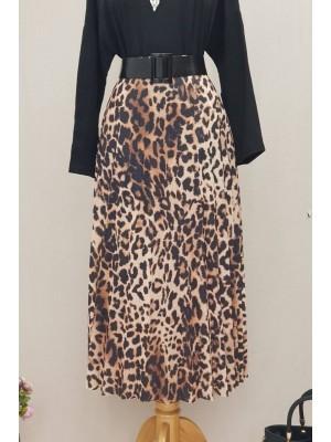 Leopard Pattern Skirt -Black