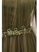 Beaded Tulle Evening Dress -Khaki