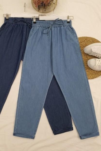 Duble Paça Kot Pantolon -Mavi
