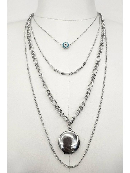 Evil Eye Beaded Necklace -Silver