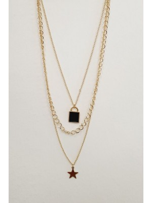 Three Chain Padlock Detailed Women's Necklace -Gold