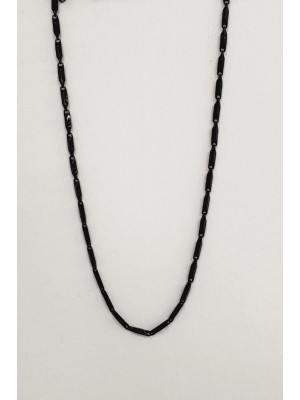 Metal Rectangle Icon Printed Necklace -Silver