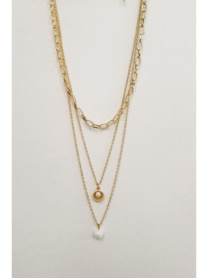 Three Chains Big Pearl Detailed Women's Necklace -Gold