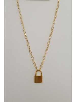 Large Chain Strap Lock Detailed Women's Necklace -Gold