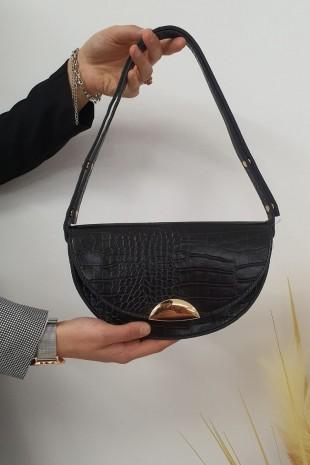 Mıknatıslı Yuvarlak Çanta -Siyah