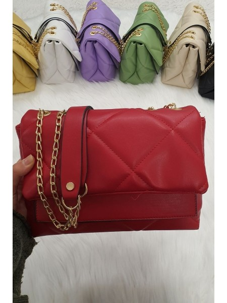 Quilted Chain Bag -Red