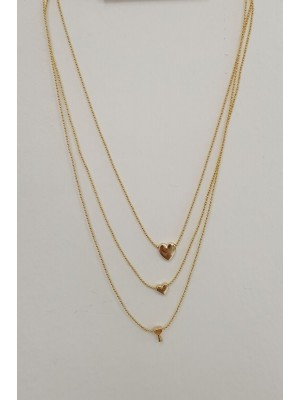 Thin Chain Heart Keyed Women's Necklace -Gold
