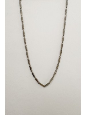 Metal Rectangle Icon Printed Necklace  -Black