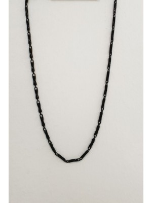 Metal Geometric Pattern Necklace -Black