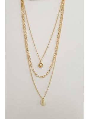 Three Chain Pearl Detailed Necklace -Gold
