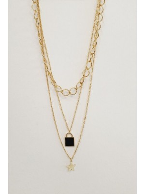 Thick Chain Padlock Detail Women's Necklace -Gold