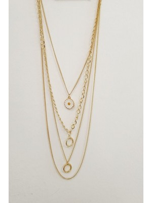Four Chain Daisy Detail Women's Necklace -Gold